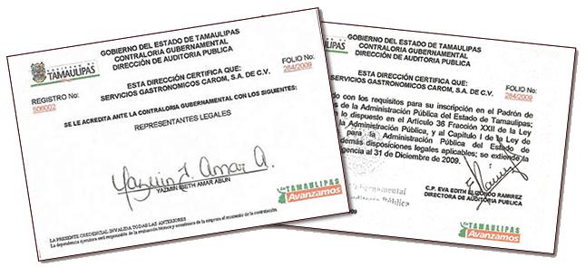 Gastronomia Cervantes Certificacion del Estado de Tamaulipas